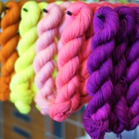 A mini rainbow of 50g sock skeins!